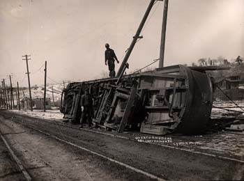 Overturned Streetcar
