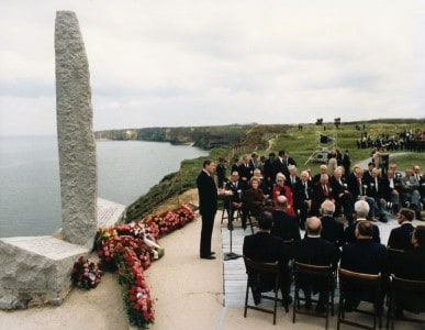 "President Ronald Reagan addresses ""the Boys of Pointe du Hoc"" on June 6th, 1984"