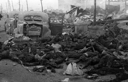 Charred Bodies from the Firebombing of Tokyo