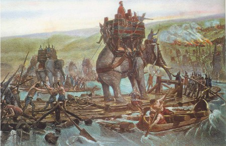 Hannibal's Elephants Crossing the Rhine River